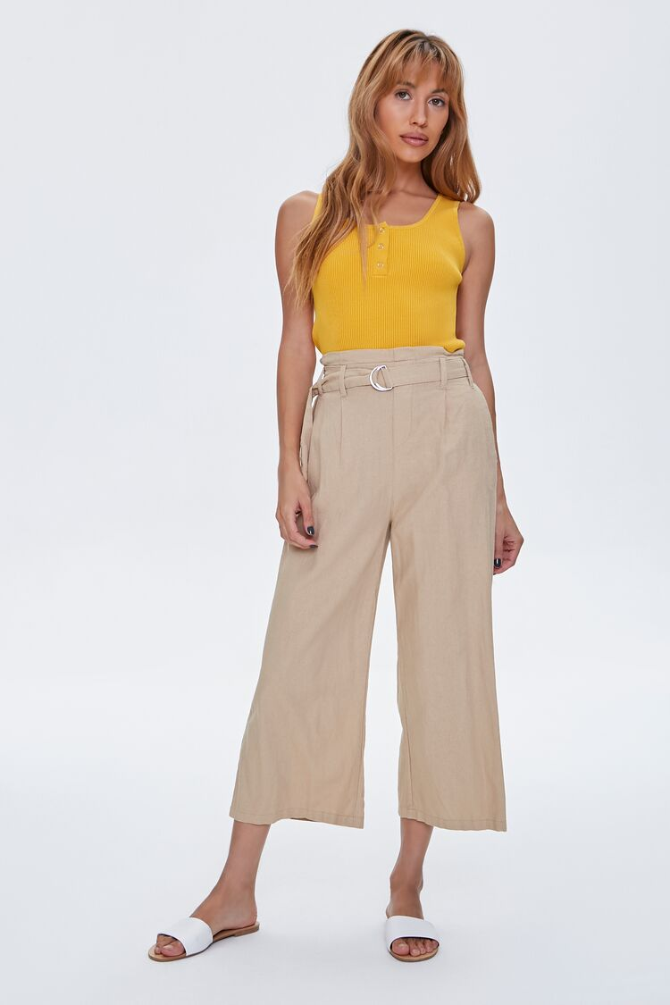 1930s Wide Leg Pants and Beach Pajamas Paperbag Belted Culottes in Khaki Medium $24.99 AT vintagedancer.com