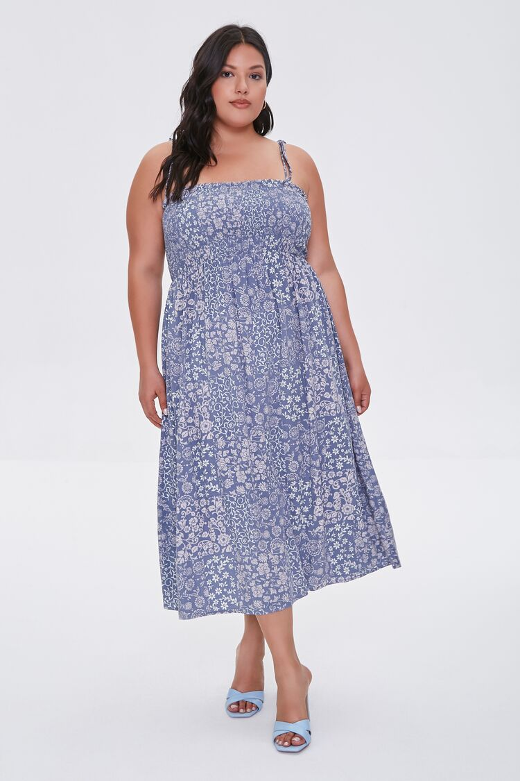 Cottagecore Clothing, Soft Aesthetic Ornate Floral Dress in BlueCream Size 3X $34.99 AT vintagedancer.com