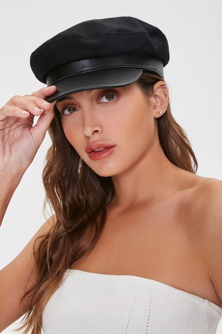 Hippie Hats,  70s Hats Faux Leather  Felt Cabbie Hat in Black Size SM $12.00 AT vintagedancer.com
