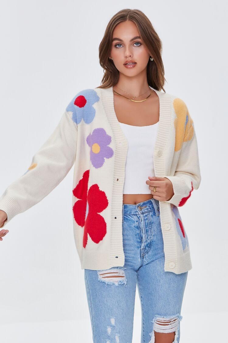 80s Outfit Inspiration, Party Ideas Floral Print Cardigan Sweater in Ivory Large $39.99 AT vintagedancer.com