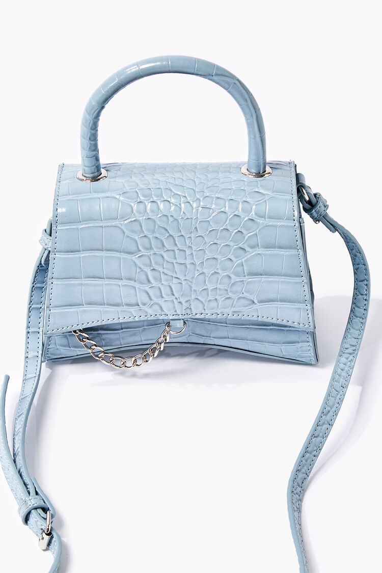 Vintage Handbags, Purses, Bags *New* Faux Croc Leather Crossbody Bag in Blue $19.99 AT vintagedancer.com