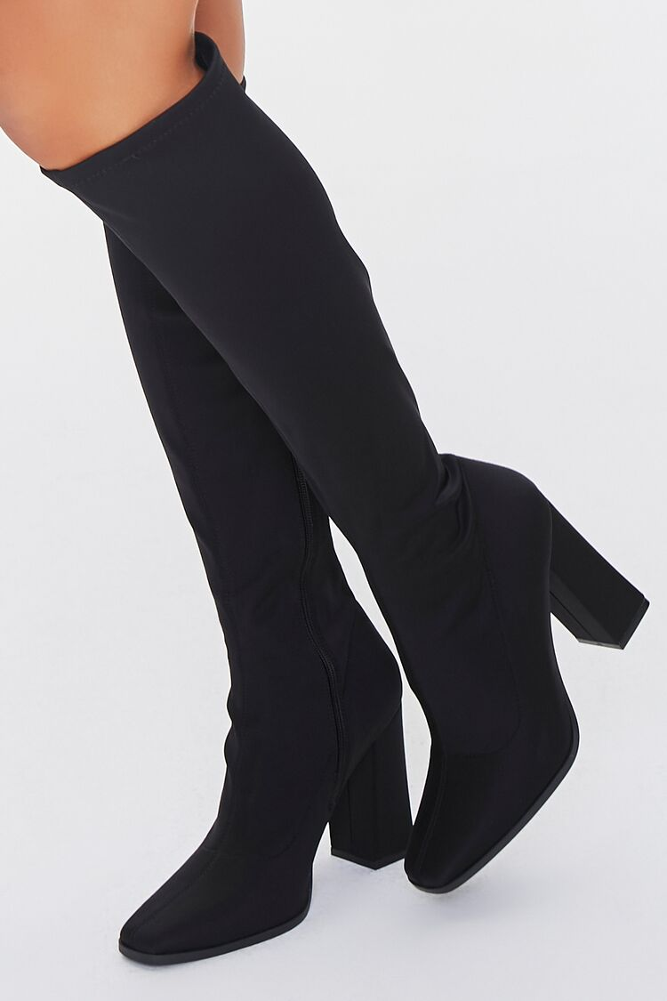 70s Shoes, Platforms, Boots, Heels | 1970s Shoes Knee-High Block Heel Boots in Black Size 8.5 $44.99 AT vintagedancer.com