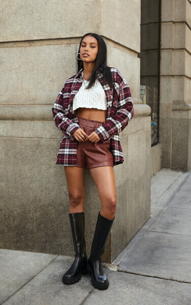 90s Clothing Outfits You Can Buy Now Plaid Drop-Sleeve Shacket in Burgundy Medium $27.99 AT vintagedancer.com