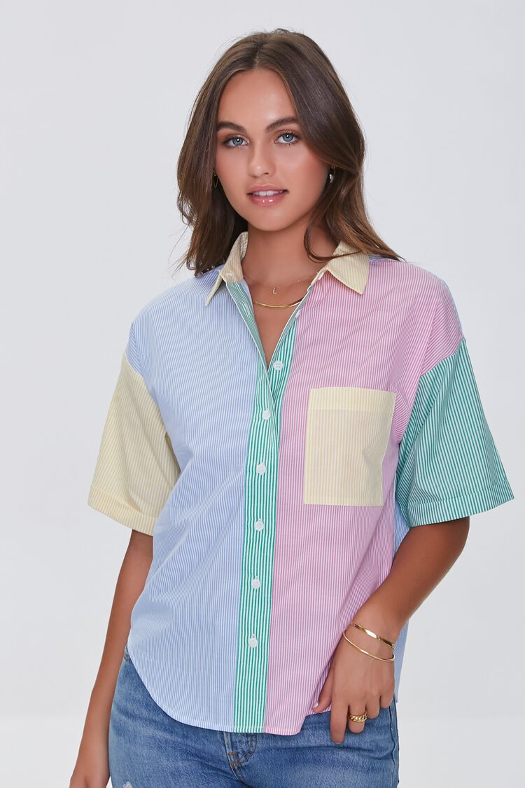 80s Tops, Shirts, T-shirts, Blouse   90s T-shirts Colorblock Pinstriped Shirt in Blue Size XL $24.99 AT vintagedancer.com
