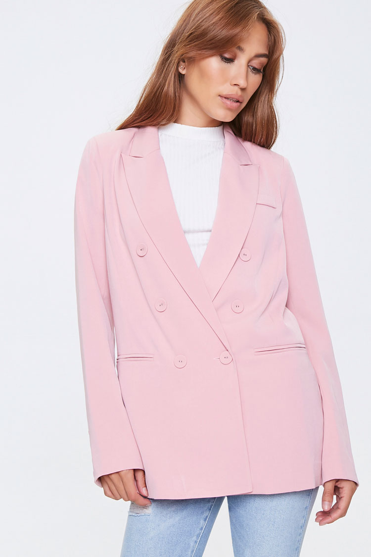 1980s Clothing, Fashion | 80s Style Clothes Double-Breasted Blazer in Light Pink Medium $31.99 AT vintagedancer.com