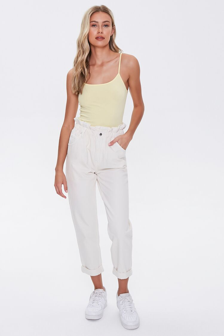 80s Jeans, Pants, Leggings Cuffed Paperbag Jeans in Cream Large $24.99 AT vintagedancer.com