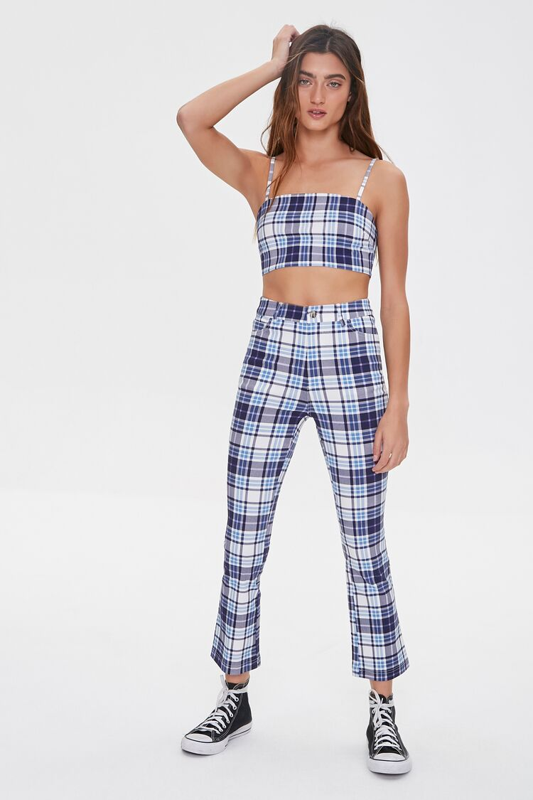 1960s Pants – Top 10 Styles for Women Plaid Flare Ankle Pants in Blue Large $24.99 AT vintagedancer.com