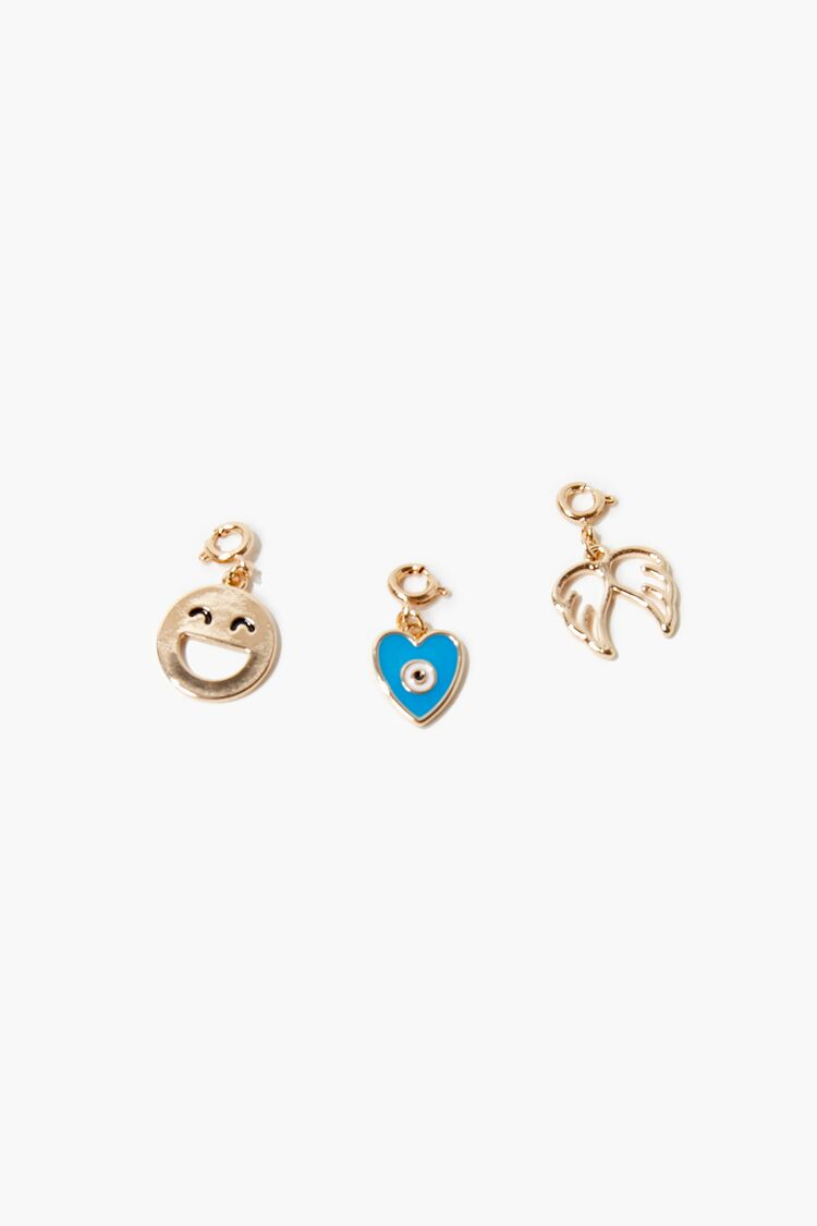 Smiling Face Charm Set in Gold/Blue